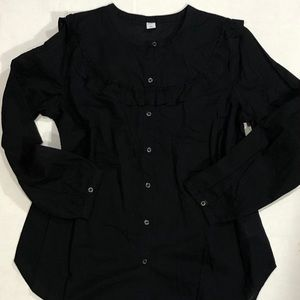 New Old Navy Black Peasant Top Blouse L Cotton